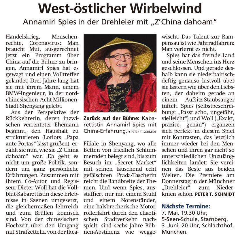 Münchner Merkur Nr. 44 | Wochenende 22./23. Februar 2020 | Seite 19 | Peter T. Schmidt