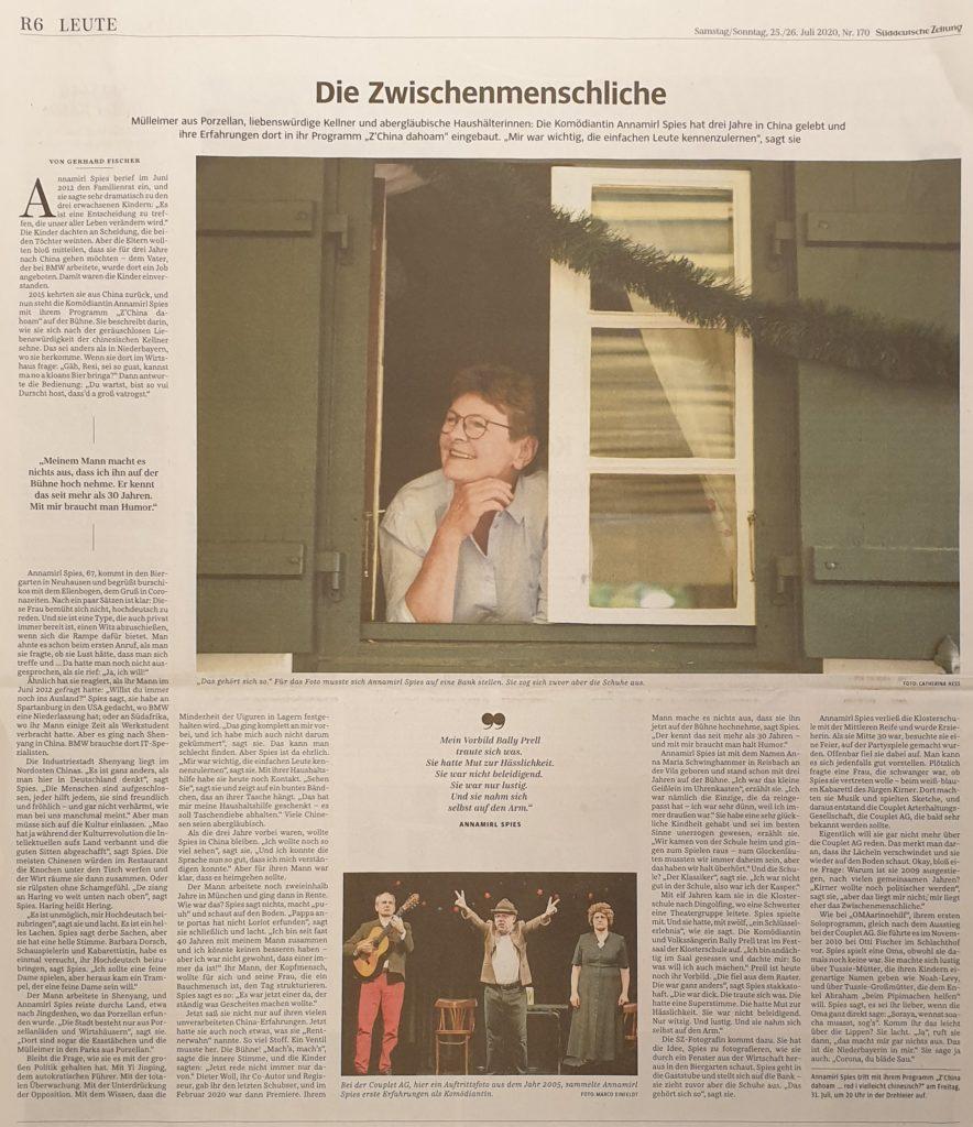 Süddeutsche Zeitung Nr. 170 / Samstag/Sonntag, 25./26. Juli 2020 / Seite R6 / Gerhard Fischer