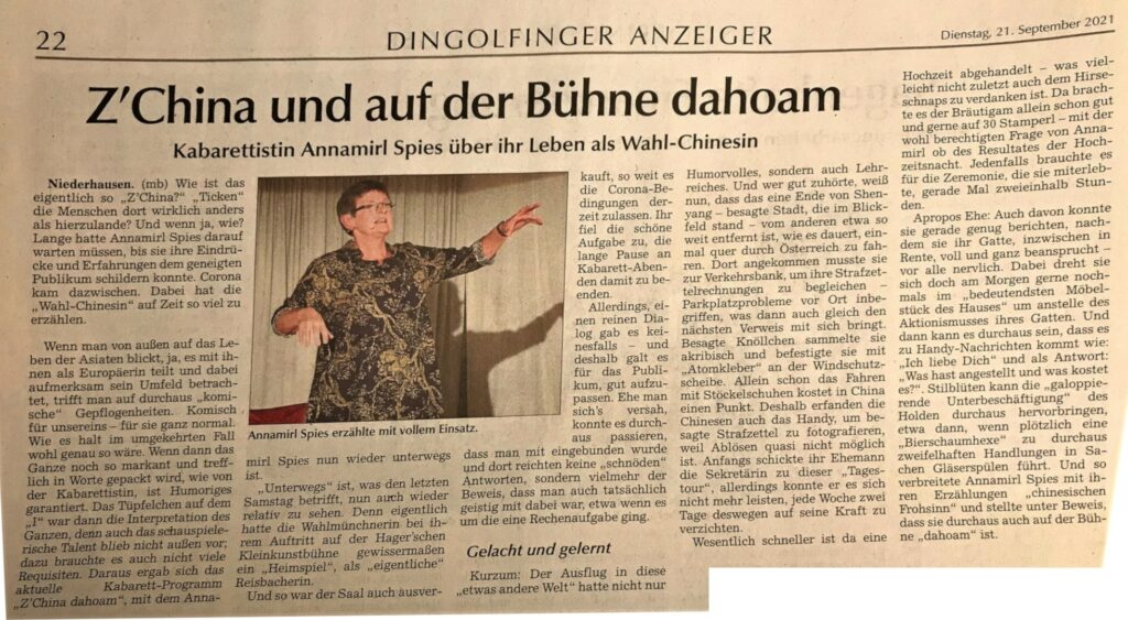 Dingolfinger Anzeiger, 21. September 2021 – Seite 22 - Monika Bergbauer: Z'China und auf der Bühne dahoam